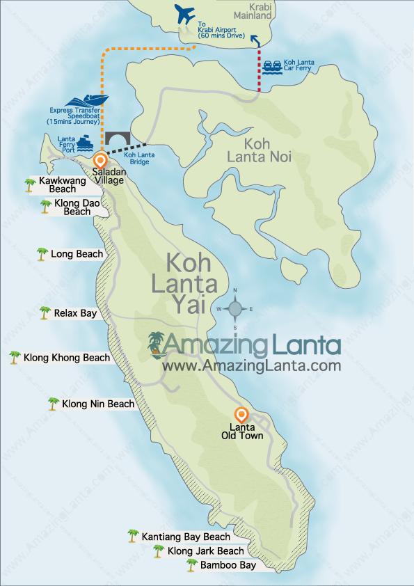 Koh Lantos salos žemėlapis