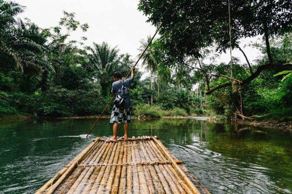 plaukimas bambukiniu plaustu Khao sok parke