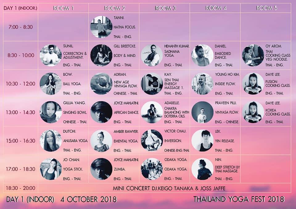 Tailando jogos festivalis - 1 dienos programa