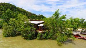 lantos saloje nameliai ant vandens