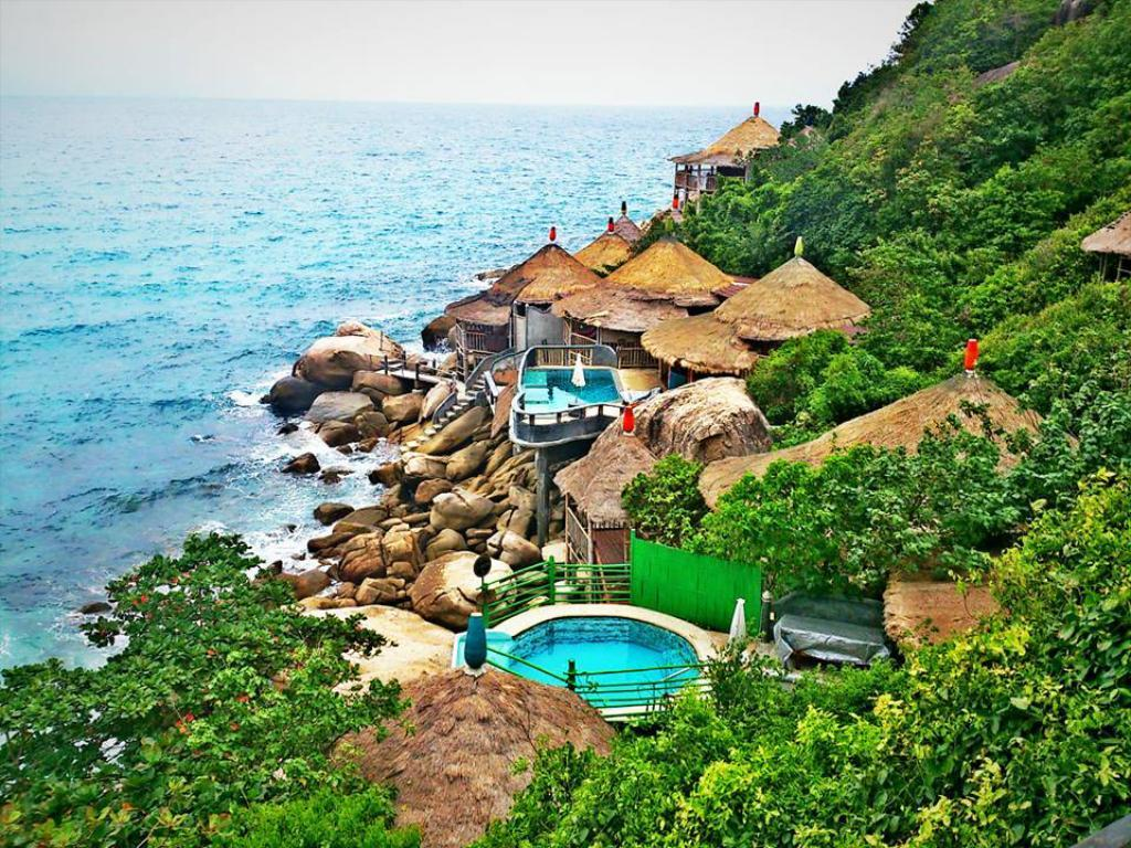 lph tao bamboo huts viesbutis tailande