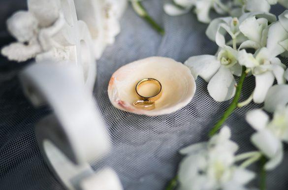 Vestuvių žiedai kriauklėje