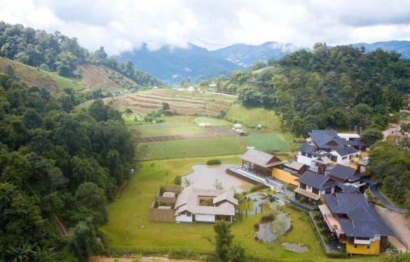 onsen at moncham ryžių laukuose